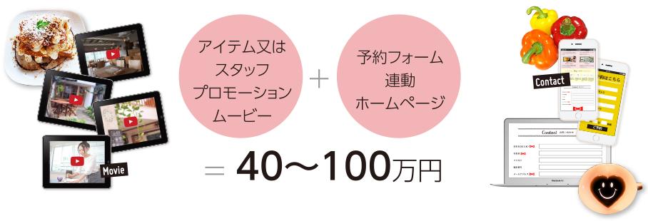 アイテム又はスタッフプロモーションムービー+予約フォーム連動ホームページ=40〜100万円